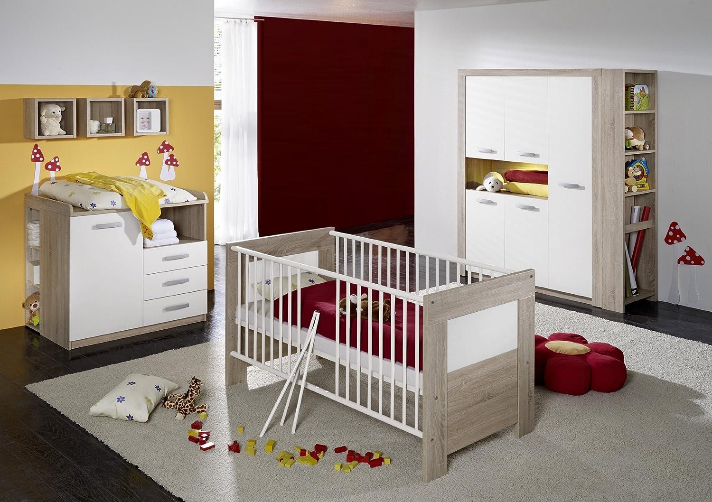 Babyzimmer mit Bett 70 x 140 cm Eiche sägerau/ weiss matt online bestellen
