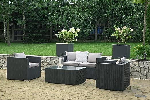 Mayaadi-Home Qualitäts Gartenmöbel-Set aus hochwertigem Rattan ink. Sitz-Polster, 13 teiliges Lounge-Set fur Terrasse und Garten Anthrazit