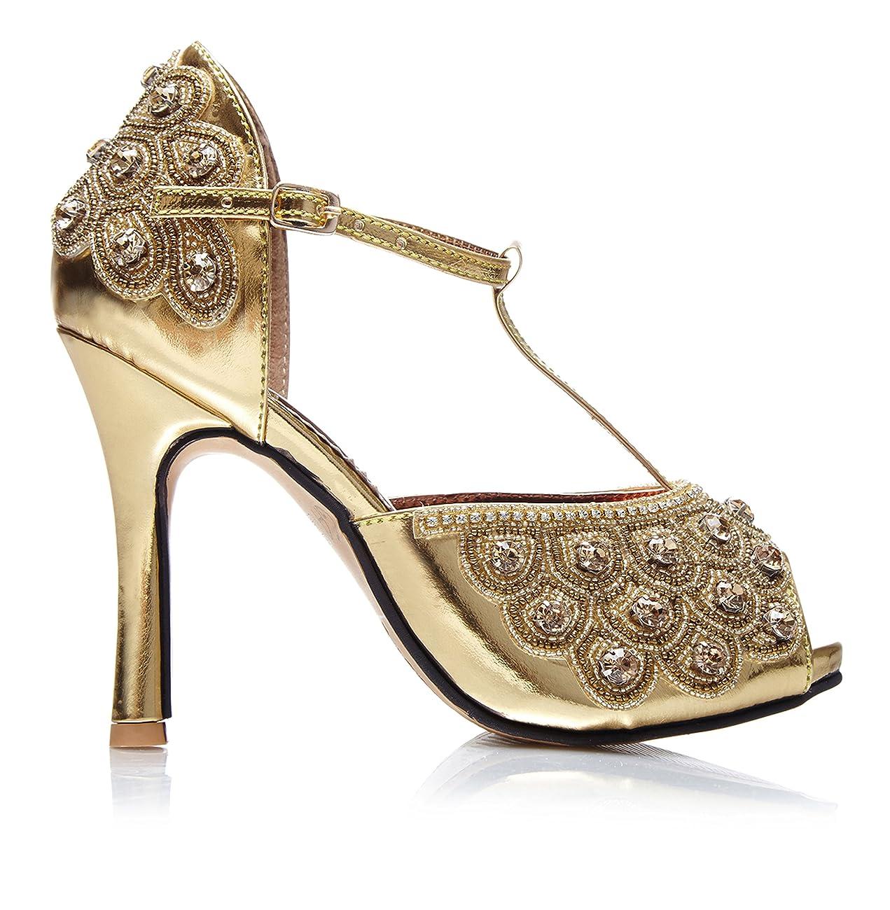 Donna Vintage Inspired T-Strap Heels in Gold 0