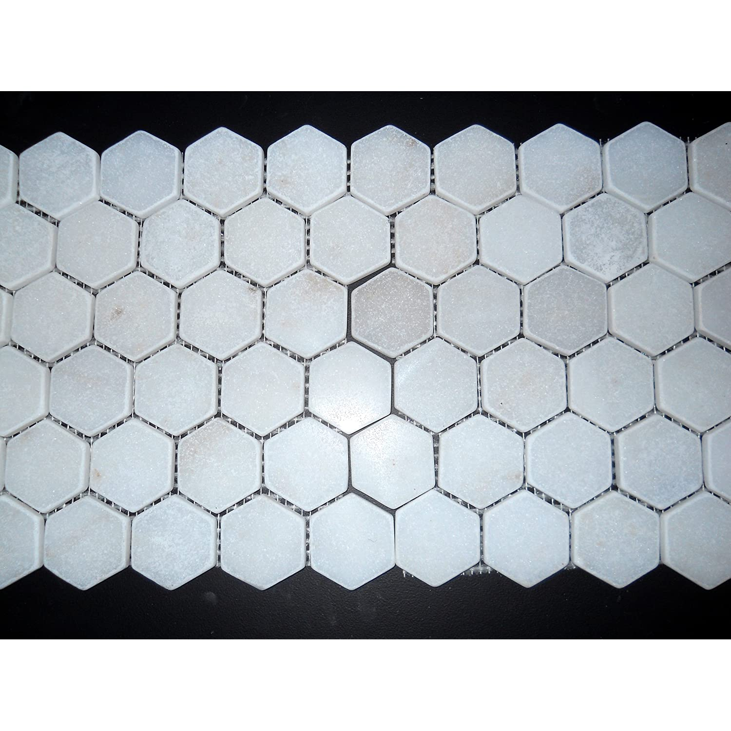 Hexagon 2x2 White Marble TUMBLE Mosaics Meshed on Sheet Tiles