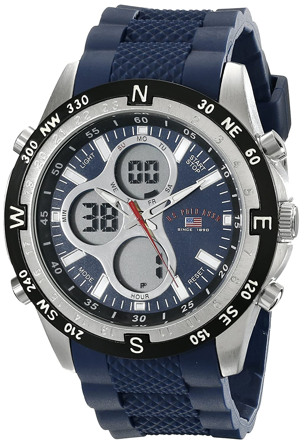 u s polo assn sport men s us8170 black and gunmetal tone u s polo assn sport men s us9137 blue silicone analog digital sport watch