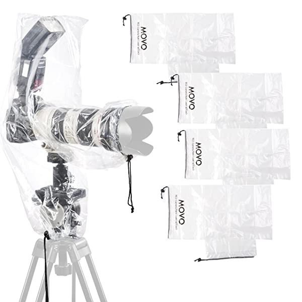 Movo (5 Pack) RC2 Clear Rain Cover for DSLR Camera, Flash, and Lens up to 18 Long