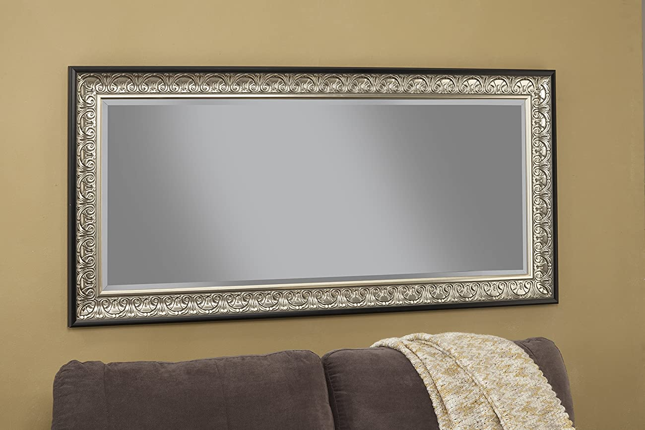 Sandberg Furniture 16011 Full Length Leaner Mirror Frame, Antique Silver/Black 3