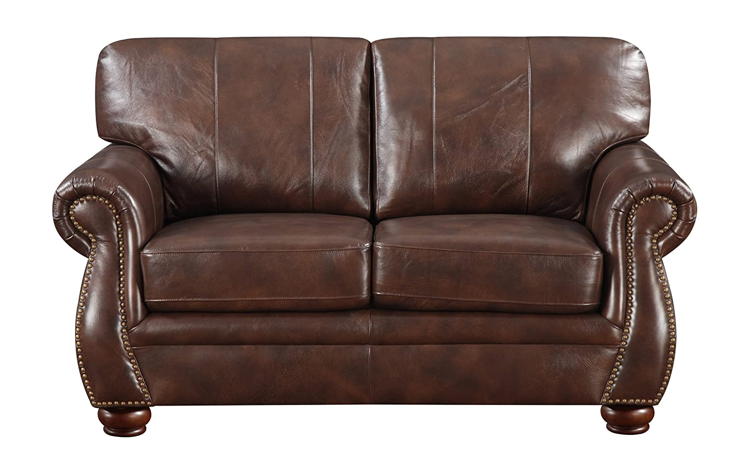 Contemporary Loveseat in Natural Brown
