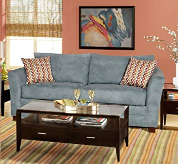 Chelsea Home Furniture Barbara Sofa, Montana Lagoon/Collage Carnival Pillows