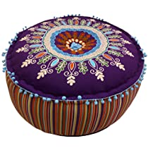 Embroidered Pouf Multi Color