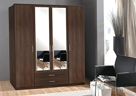 Osaka Walnut Effect 2/3/4 Door Wardrobe Mirror German Bedroom Furniture Mirrored Drawers 100% Made in Germany (4 Door)