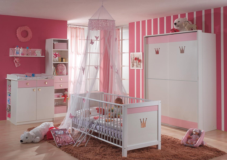 Babyzimmer mit Bett 70 x 140 cm alpinweiss/ rosa bestellen