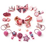 18pc Baby Girls Ribbon Hair Bow Clips Barrettes Hair Tie Head Bands Ropes Hair Holder for Girl Teens Kids Babies Toddlers Hot Pink (Color: Hot Pink, Tamaño: Hot Pink)