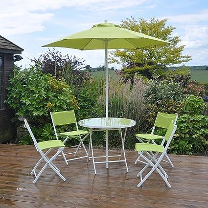 Kingfisher - Conjunto de 6 piezas para jardín de mesa y sillas (Talla Única/Verde)