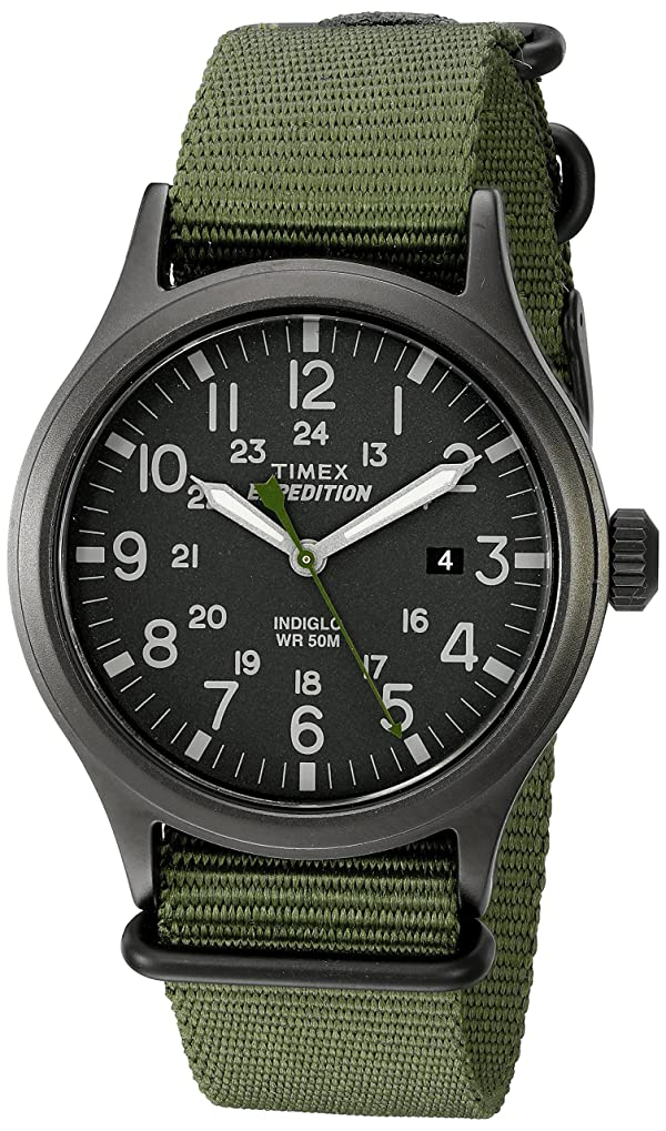Timex Men's TW4B04700 Expedition Scout Green Nylon Slip-Thru Strap Watch (Color: Green, Tamaño: Mens Standard)