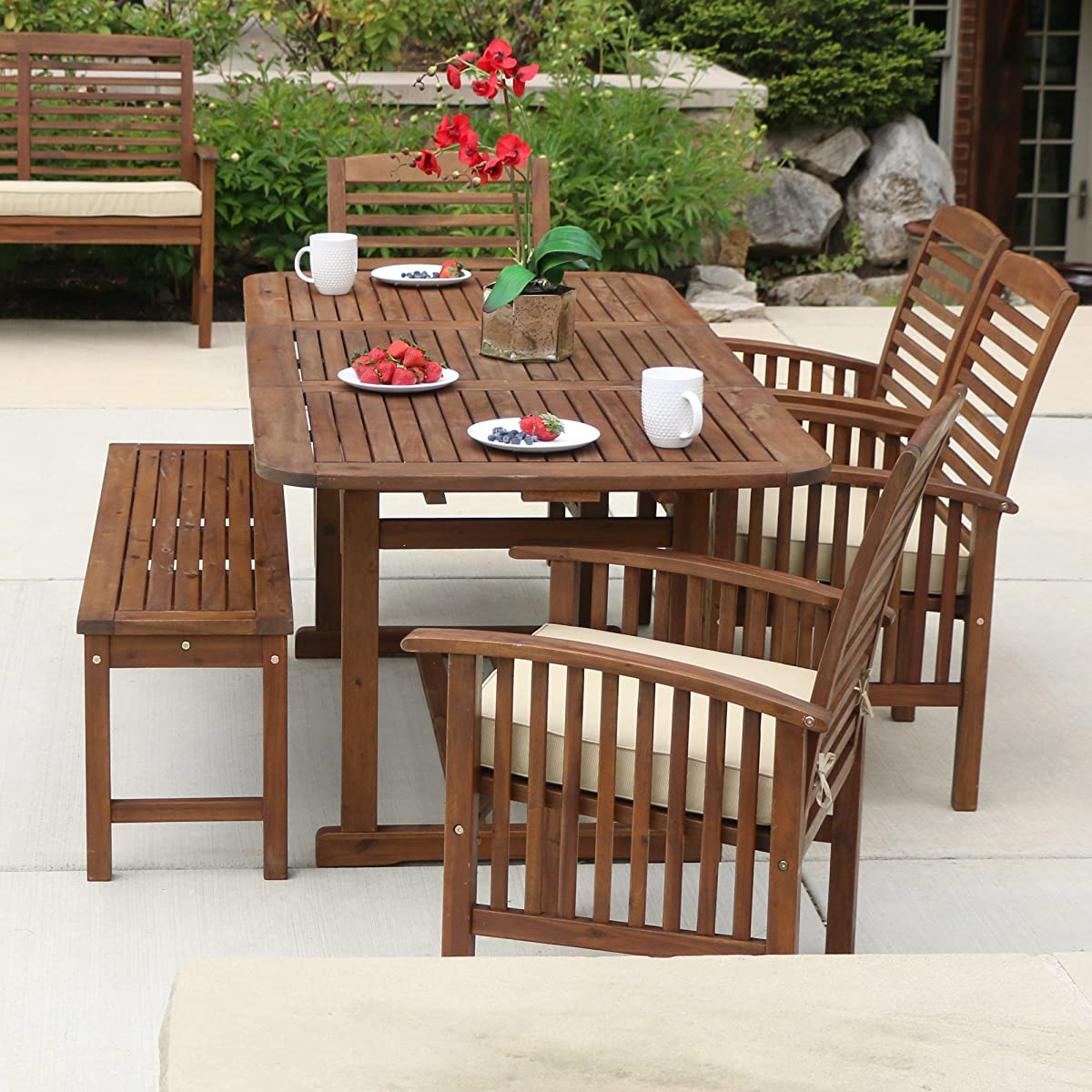 WE Furniture Solid Acacia Wood 6-Piece Patio Dining Set