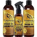 Argan Oil Hair Treatment Gift Set - 3 Piece:Argan Oil Shampoo (8oz) Conditioner (8 oz) & Hair Protection Spray (4oz) - Sulfate Free Natural Hair Repair - Premium Nature