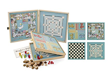 Jeujura - 8150 - Malette De Jeu - Coffret De Jeux Classiques - 50 Règles - Pions Bois