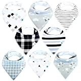 Baby Bandana Drool Bibs for Boys and Girls, 8-Pack Hypoallergenic Absorbent Organic Cotton with Snaps Teething Drooling, Unisex Baby Shower Gift, Newborn Registry Must Haves (Black White Monochrome) (Color: Classic, Tamaño: Large)