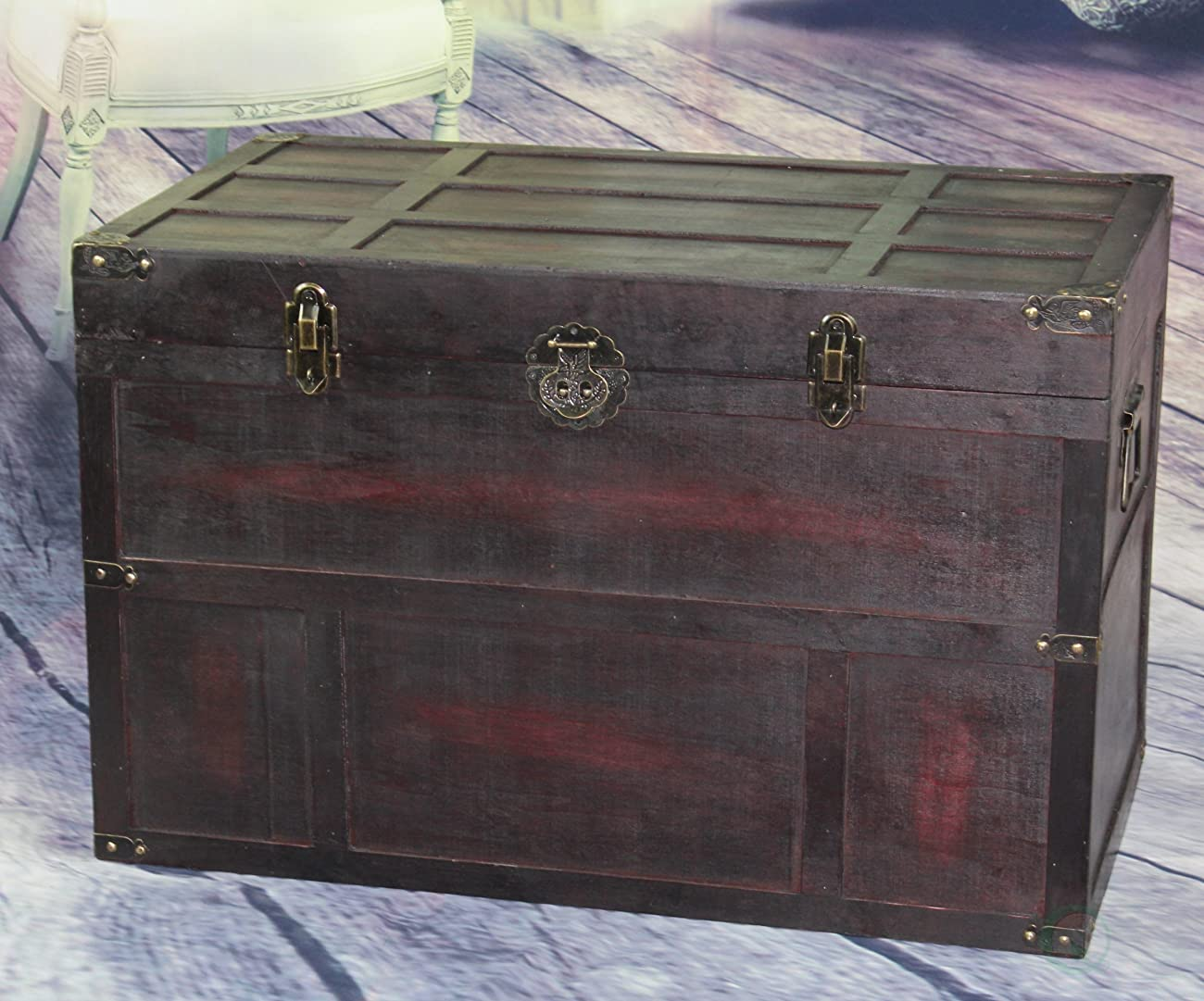 Vintiquewise Antique Style Wooden Steamer Trunk 0