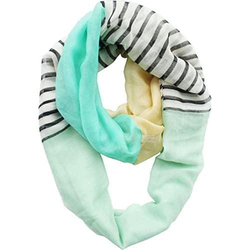 Vivian & Vincent Soft Light Weight Stripe Mosaic Sheer Infinity Scarf