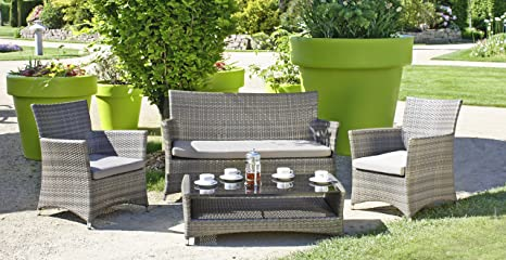 Lounge-Gruppe PESARO, 4tlg., Gartenmöbel, Tischgruppe, Tisch, Sofa