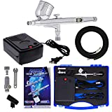 Master Airbrush Airbrushing System Kit with a G23 Multi-Purpose Gravity Feed Dual-Action Airbrush with 1/3oz. Cup and 0.3mm Tip, Mini Air Compressor, Hose, Storage Case, How-to-Airbrush Guide Booklet (Color: With Bonus Plastic Case)