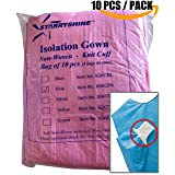 Dental Medical Latex Free Disposable Isolation Gowns Knit Cuff Non Woven | Fluid Resistant (10 Gowns/Pack, Pink) (Color: Pink, Tamaño: 10 Gowns / Pack)