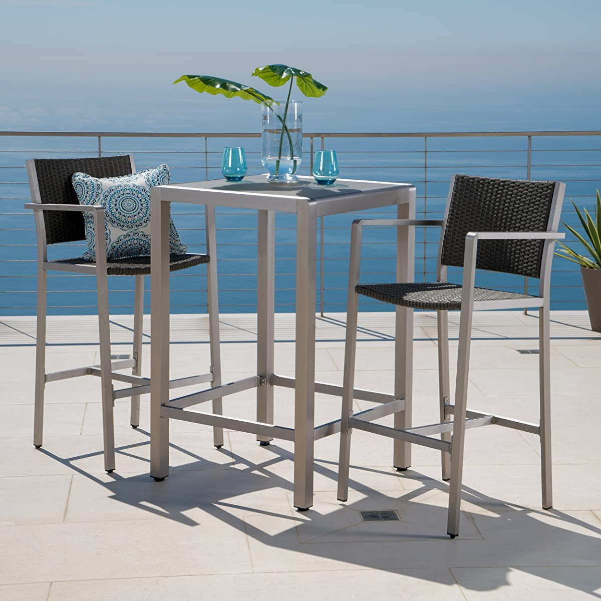 Crested Bay Patio Furniture ~ 3 Piece Grey Outdoor Wicker and Aluminum Bar Set with Tempered Glass Top