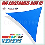 ColourTree 20' x 20' x 20' Blue Sun Shade Sail Triangle Canopy, UV Resistant Heavy Duty Commercial Grade, We Make Custom Size