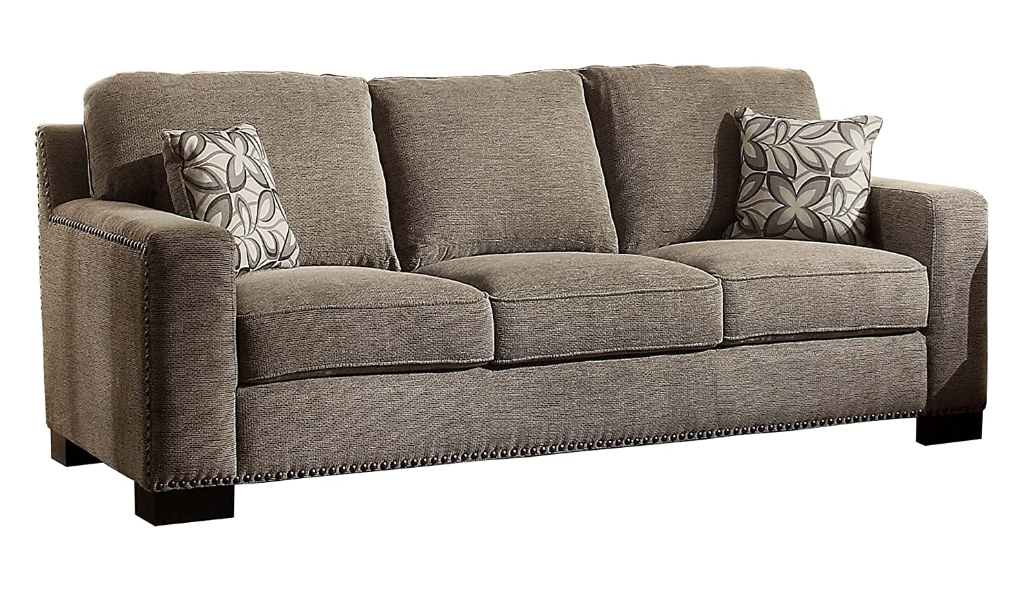 Homelegance Gowan Upholstered Modern Track Arm Design Sofa with Nail Heads Trim Accent Chenille With Floral Toss