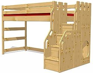 Hochbett Schlossbett mit Treppe+Rost, GS zertifziert, Kiefer Massivholz aus nachhaltiger Forstwirtschaft  Kundenberichte und weitere Informationen