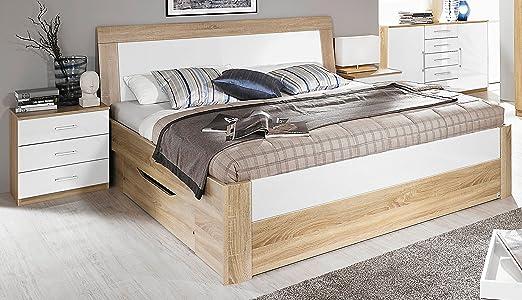 Rauch Bett mit 2 Schubkästen Eiche Sonoma/Hochglanz weiß 140 x 200 cm