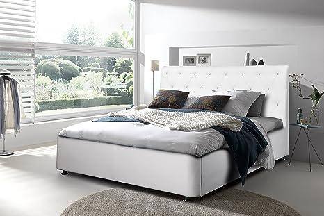 Bett Fancy Doppelbett Hotelbett Ehebett Lattenrost weiß 140/160/180x200cm 01686 (160x200, Farbe wie abgebildet)