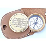 Neovivid Go Confidently Quote Engraved Twist Open Brass Pocket Compass With Leather Case, Directional Magnetic Navigational Compass, Christmas Gifts, Nautical Compass, Eagle Scouts Compass (Color: Brown, Tamaño: Small)