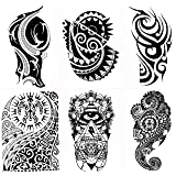 Gilded Girl 6 Large Tribal Temporary Tattoos Realistic Designs for Arm/Back/Shoulder Waterproof Body Art Removable Black Tattoo (Color: Black)