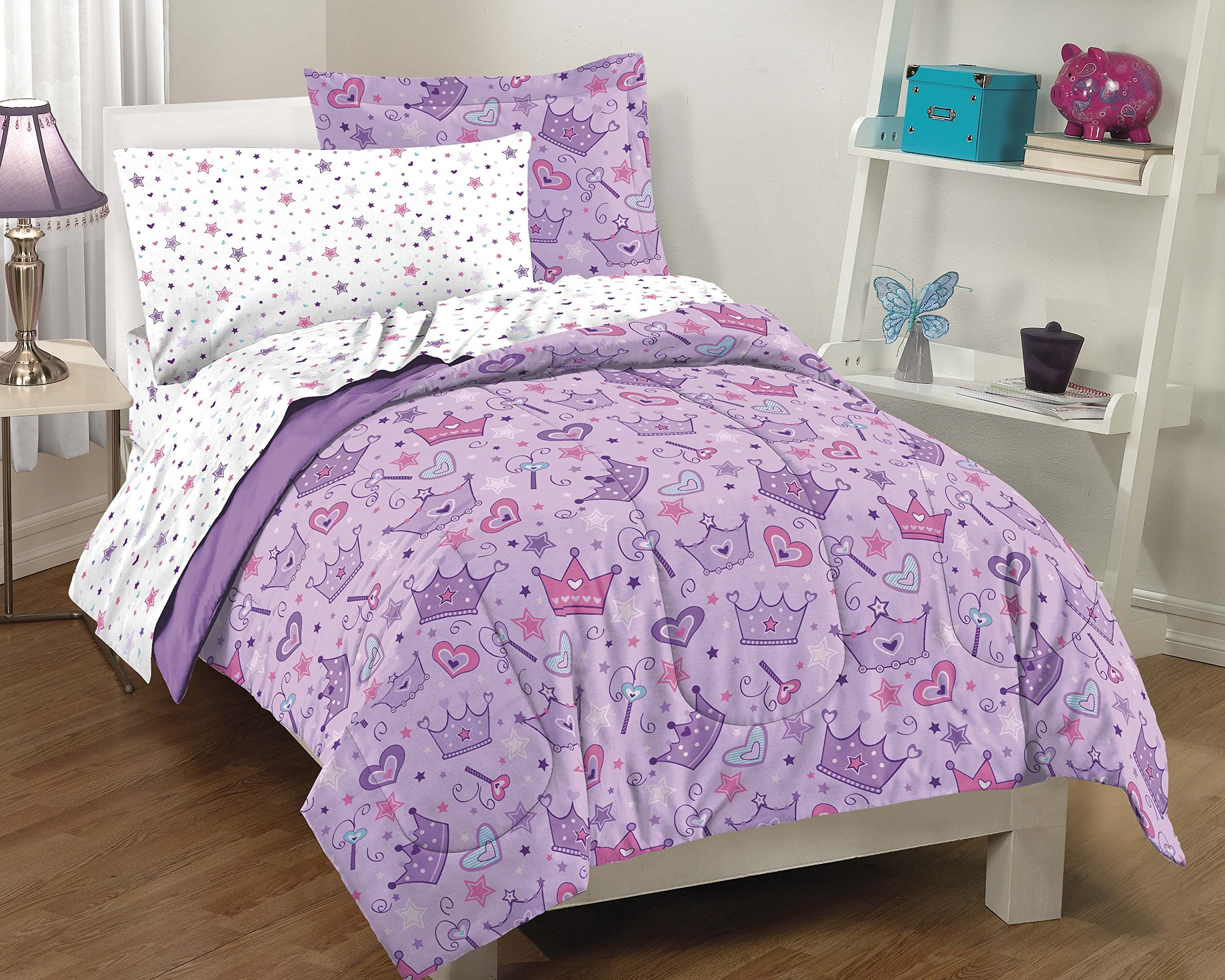 Girls Twin Comforter: Dream Factory Purple Princess Hearts And Crowns Girls