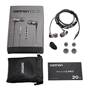 Betron GLD100 Earphones Headphones High Definition, in-Ear, Tangle Free, Noise Isolating, Bass Driven Sound for iPhone, iPod, iPad, Samsung, Tablets a