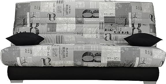 Divano clic-clac, in tessuto, colore: grigio, motivo New paper Sofaconfort schiuma materasso