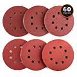 60PCS Sanding Discs, TACKLIFE Sander Pads for 5 Inch Random Orbit Sander, Stronger E Paper Sandpaper for Wood, Metal and Paint, 10Pcs Each Assorted 40/60/80/120/180/240 Grits - ASD03C (Color: Reddish Brown, Tamaño: ASD03C)