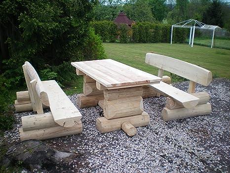 Table rustique en bois de résineux/deutsche qualité artisanale/2/m-longueur sitzkapazität pour 8 personnes jardin tout est une pièce unique
