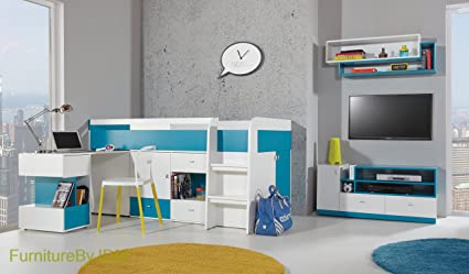 Medium High Sleeper Composition MOBI System 21. Kids/Children Furniture Set. Medium High Sleeper (mattress not included), Desk, Combination Of Shelves and Drawers (all as one unit), TV Table plus Wall-mounted Shelve.
