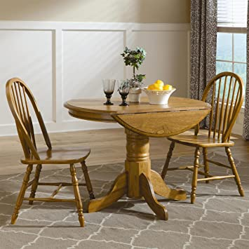 Brooks Furniture Traditional 174242-1318M Laminated Square Round Dropleaf Pedestal Table and 4 Spindle Back Side Chairs, Medium, Oak Finish