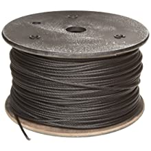 Galvanized Steel Wire Rope, Zinc Galvanized, 7x19 Strand Core, Black