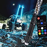 6ft Spiral LED Whip Lights w/Flag [21 Modes] [20 Colors] [Wireless Remote] [Weatherproof] Lighted Antenna Whips - Accessories for ATV Polaris RZR 4 Wheeler (Tamaño: 6ft - Pack of 1)