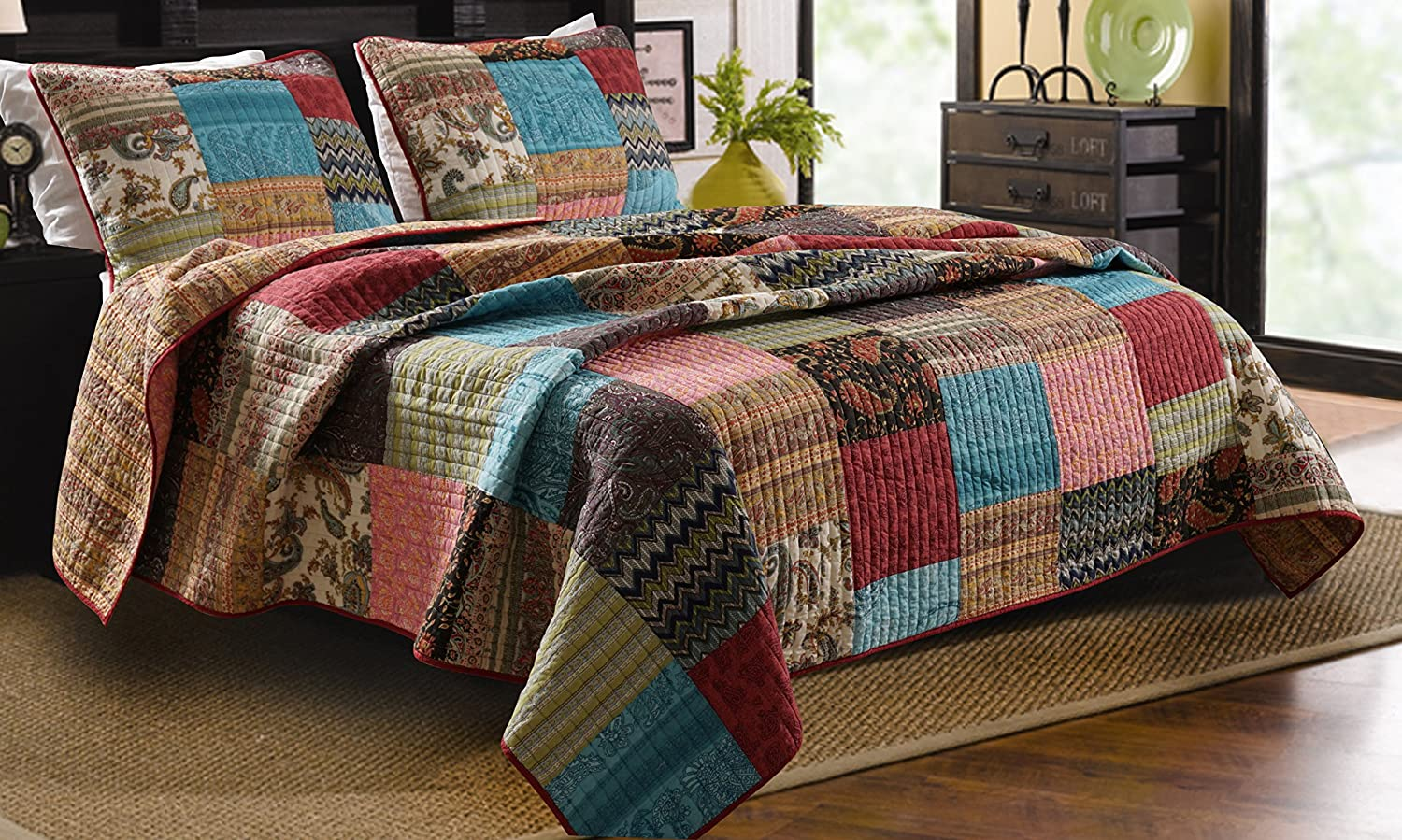 3pc Bohemian Quilt Set King Queen Size Greenland Home