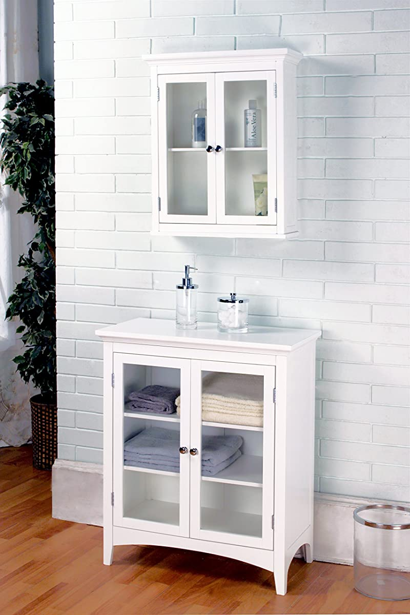 Elegant Home Fashions Madison Collection Shelved Double-Door Floor Cabinet, White