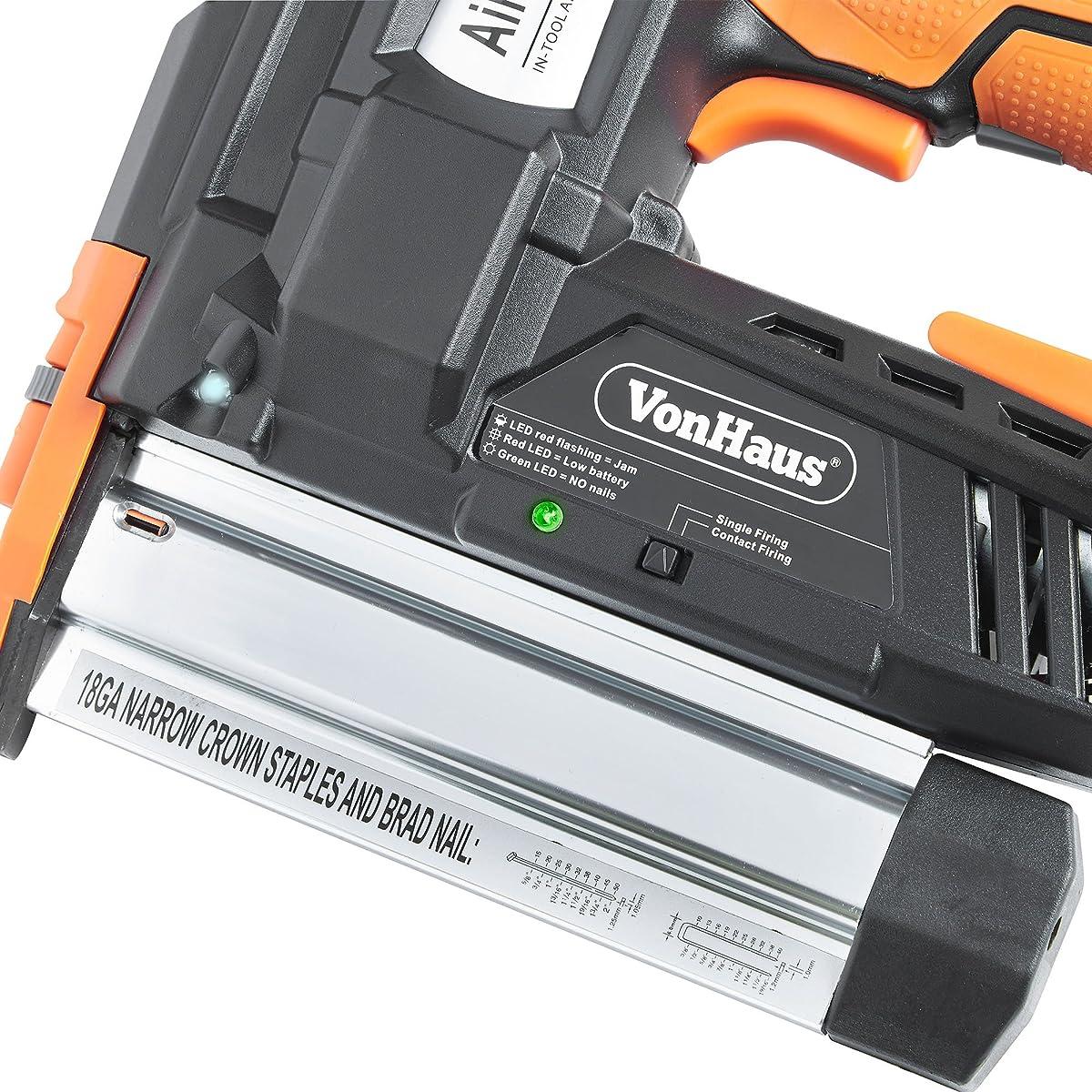 VonHaus 2 in 1 Cordless Brad Nailer & Stapler Kit - Includes 2Ah 18V Li-Ion Battery, Charger & 200 Nails/Staples