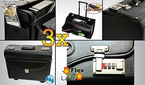 3Pilot bolsillos, piel sintética (piel sintética) maletín Business con ruedas + Mango Telescópico, Premium Pilot maletín Juego de Oferta Estable, grande con 4ruedas Estable Estable y resistente.