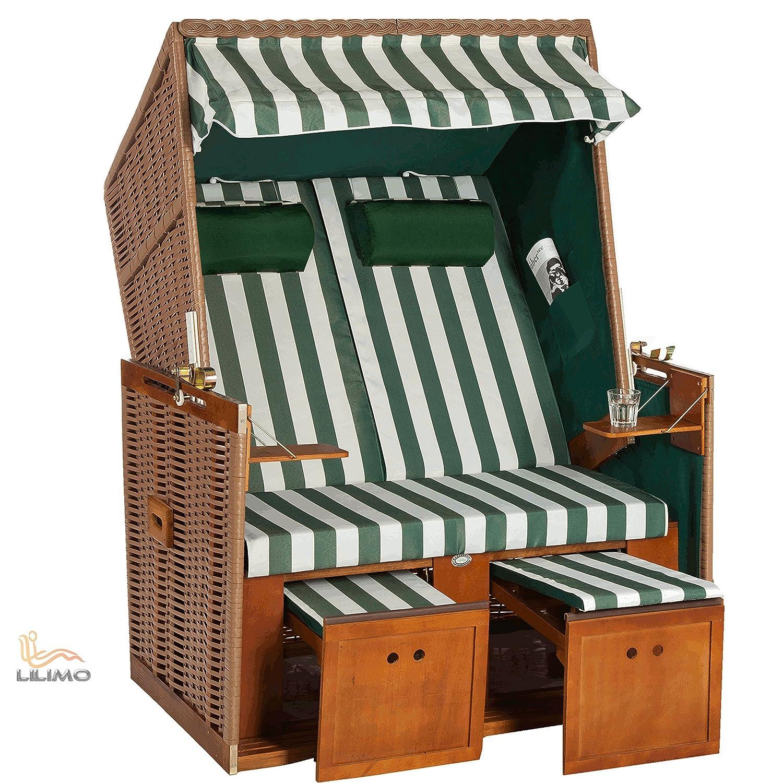 Strandkorb Nordsee Deluxe GNE grün-weiss, Geflecht natur, fertig montiert, LILIMO ® kaufen