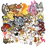 SIX VANKA 58pcs Animal Patches Horse Wolf Tiger Lion Zebra Kangaroo Random Assorted Iron On Embroidered Applique Sew on for Kids DIY Crafts Clothes Backpacks (Color: Animal Appliques Patches Set)