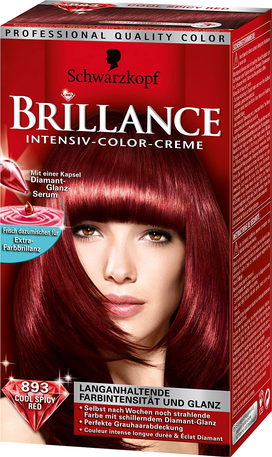 schwarzkopf brillance lot 2 couleur colorations serum cheveux 893 cool spicy red ebay. Black Bedroom Furniture Sets. Home Design Ideas