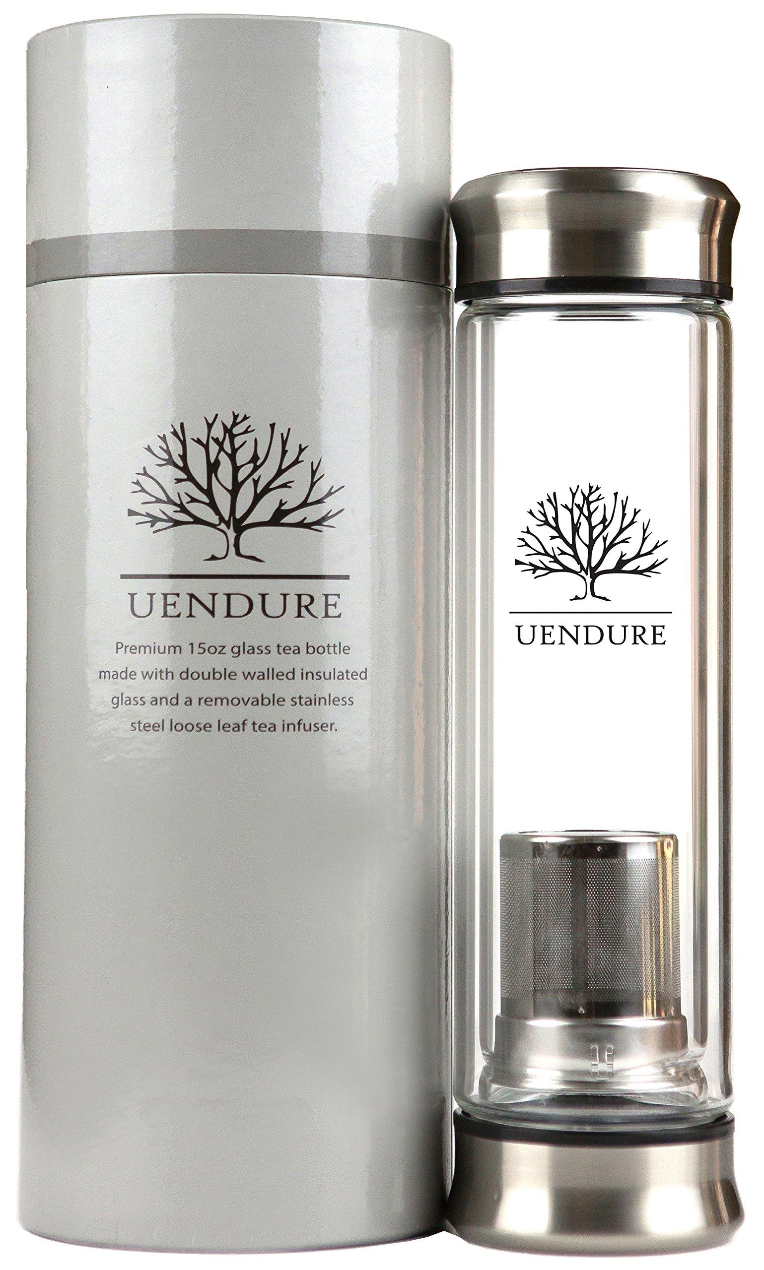 uendure tea infuser travel mug glass tumbler with loose. Black Bedroom Furniture Sets. Home Design Ideas