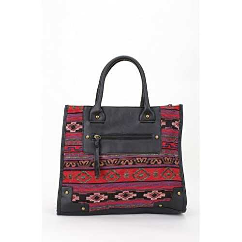 Aztec Inspired Fall Winter Tote Bag Handbag Top Handle Purse with Faux Leather Accent